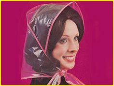 (a Sequel to The Headscarf Lament) Oh, to wear a rain bonnet and look as cute as this. After getting caught out in the ra. Rain Bonnet, Bonnet Hat, Beyonce, Kardashian, Saint Laurent, Rain Hat, Pvc Raincoat, April Showers, Childhood Memories