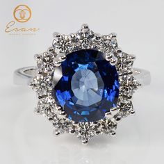 Ring diamonds and sapphire halo Diamond Rings, Halo, Sapphire, Jewelry, Jewlery, Bijoux, Schmuck, Corona, Jewerly