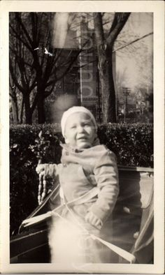 Vintage Photo Baby in Carriage Pram Black & by foundphotogallery