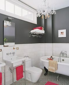 High bathroom windows