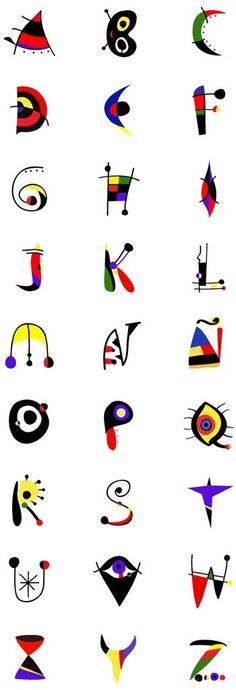 Todos los caracteres del alfabeto inspirada en Joan Miró creado por Tano Veron.