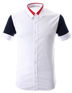 FLATSEVEN Mens Contrast Colorblock Short Sleeve Slim Fitted Shirt with Red Collar (SH1003) White, M FLATSEVEN http://www.amazon.com/dp/B00L42BDJU/ref=cm_sw_r_pi_dp_jdnlub0S5M5JD