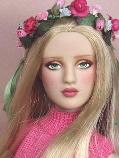 Gail - OOAK Antoinette repaint by Ellen Harris with floral head band & hat