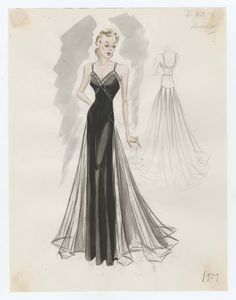 Bergdorf Goodman sketches : Mooring 1937-1939. 1937-1939. Metropolitan Museum of Art (New York, N.Y.). Costume Institute. Bergdorf Goodman sketches, 1929-1952 Costume Institute. #stunning  #glamorous | The perfect dress is any dress that makes you feel beautiful.