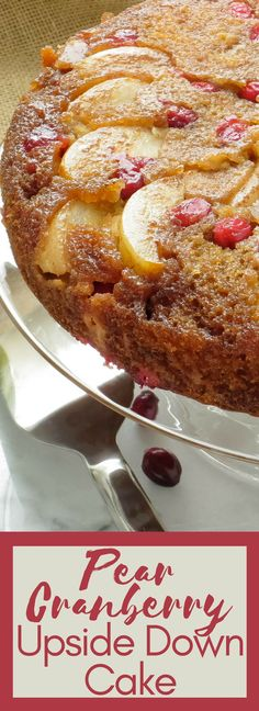 PEAR CRANBERRY UPSIDE DOWN CAKE Looking for an easy fall dessert recipe? Juicy pears & tart cranberries are a twist on traditional upside down cake. Great for holidays and Thanksgiving! Fall Dessert Recipes, Fall Desserts, Cupcake Recipes, Just Desserts, Baking Recipes, Delicious Desserts, Cupcake Cakes, Cupcakes, Fruit Cakes