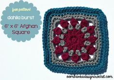 Free crochet pattern: Dahlia Burst Afghan Square by Oombawka Design