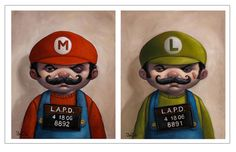 Mario Bros. mugshots...arrested for coin stealing and eating hallucinational mushrooms...