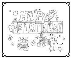 Happy Birthday Kleurplaten Verjaardag Volwassenen.142 Beste Afbeeldingen Van Feest Kleurplaten Wensjes
