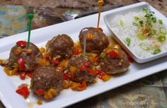 Baked Asian Meatballs with veggies in light Teriyaki sauce. Served with steamed Sushi rice. Yummy!