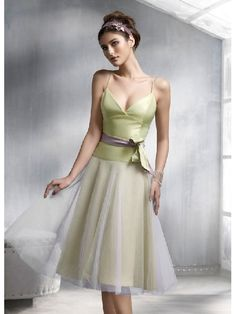 A-line Green Straps Knee Length Belt Elegant Bridesmaid Dress