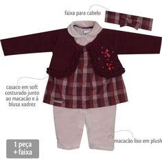 Macacão Bebê Menina Festa Xadrez Vinho com Faixa de Cabelo - Sonho Mágico :: 764 Kids   Roupa bebê e infantil