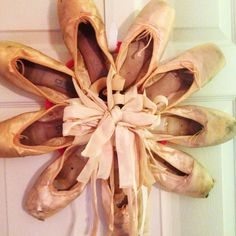 Pointe shoe wreath made with used and broken shoes