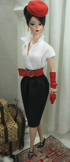 Working Classic for Silkstone Barbie; I would like to have this red, white and black outfit for myself, too!