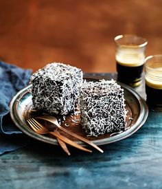 Australian Gourmet Traveller recipe for triple-chocolate lamingtons // afternoon tea Delicious Desserts, Dessert Recipes, Yummy Food, Paleo Sweets, Paleo Dessert, Cheesecakes, Chocolates, Aussie Food, Small Cake