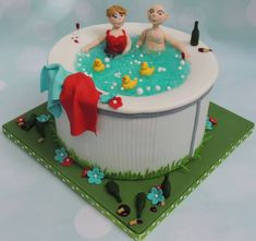 Hot tub cake - cake by Shereen 50th Birthday Cakes For Men, Elegant Birthday Cakes, Pool Party Cakes, Pool Cake, Fondant Cakes, Cupcake Cakes, Cupcakes, First Communion Cakes, Retirement Cakes
