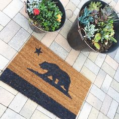 California Bear welcome mat. Hand painted by NickelDesignsShop