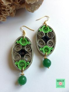 Earrings a paper jewel by QuillyPaperDesign Paper Quilling Earrings, Quilling Work, Quilling Craft, Quilling Patterns, Quilling Designs, Quilling Ideas, Bead Patterns, Paper Jewelry, Paper Beads