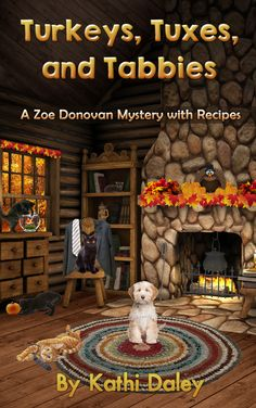 Cozy Mystery Book Cover for Turkeys, Tuxes, and Tabbies, A Zoe Donovan Thanksgiving Mystery.
