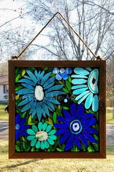Stained Glass Mosaic - Garden of Blue Geode Flowers Mosaic Garden Art, Mosaic Tile Art, Mosaic Flower Pots, Mosaic Glass, Mosaic Mirrors, Fused Glass, Stained Glass Panels, Stained Glass Patterns, Stained Glass Art