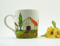 Hand painted porcelain mug  Village by CreationsdeFlorence on Etsy, $25.00