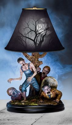 Whether the lights are on or off, there is no escape from the ghoulish zombies of the Dead of Night lamp. Designer by sculptor, illustrator and FX artist J. Anthony Kosar, it is not for the faint of heart. Take a peek at the undead, if you dare!
