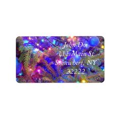 Christmas Bulbs in Blue Personalized Address Labels (x5)