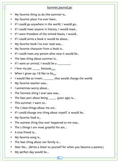 summer journal prompts - would be great to go with the new mommy and me journal the girls and i have just started;-)