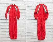 1980s A Bright Red Skirwear Onepiece Snow Suit by Tiklos / Size 34-36 / Snowboarding Gear