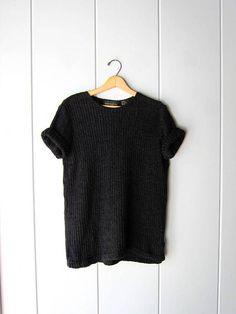 Oversized 80s Black Knit Tunic Top Tshirt Short Sleeve Vintage Sweaters, Vintage Tees, Vintage Ladies, Boho Grunge, Knit Shirt, Black Knit, Boho Dress, Tunic Tops, Sleeve