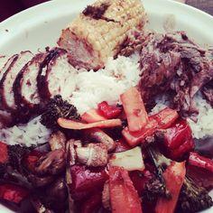 Hoisin lamb, corn, rice and roasted #superfree veggies #slimmingworld #extraeasy