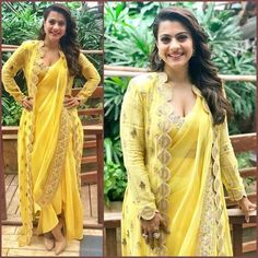 Bollywood Yellow Saree Dress Georgette Sari with Stitched Blouse Readymade Saree Designer Indian Wear - Saree Styles Red Lehenga, Lehenga Choli, Anarkali, Dhoti Saree, Lehenga Style, Bollywood Designer Sarees, Bollywood Fashion, Bollywood Style, Saree Draping Styles