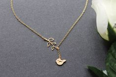 Little Bird and Leaf Branch Lariat Necklace, 14K Gold Filled Chain, Twig & Swallow Daily Jewelry Gift for Girls on Etsy, $24.00