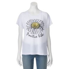 "Juniors' ""Positive Vibes"" Daisy Graphic Tee"