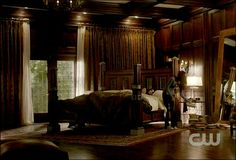 "I WANT this bedroom or at least the bed is the main thing i want. Damon Salvatore's room from "" The Vampire Diaries """