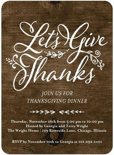 Let's Give - Thanksgiving Party Invitations in Black or Brown | Magnolia Press