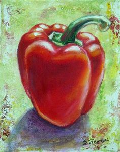 "Daily Paintworks - ""Red Pepper 1"" by Sheila Diemert I've done many still life paintings including: apples, bananas, lemons, pears, peaches, persimmons, pomegranates, mushrooms, peppers, onions, turnips, radicchio, radishes, acorn squash, watermelon, and eggplants. This brings an appreciation for the beauty of fruits and vegetables--even turnips! To order your own still life painting, contact Sheila at www.sheiladiemert.com"