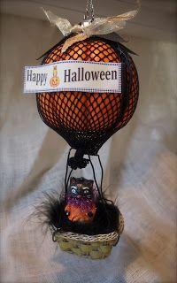 Halloween Hot air balloon from foam pumpkin and fishnet stockings