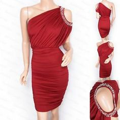 New Women's Red One Shoulder Faux Pearl Evening Pencil Dress