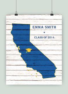 PERSONALIZED Graduation Gift California art map by PrintCorner