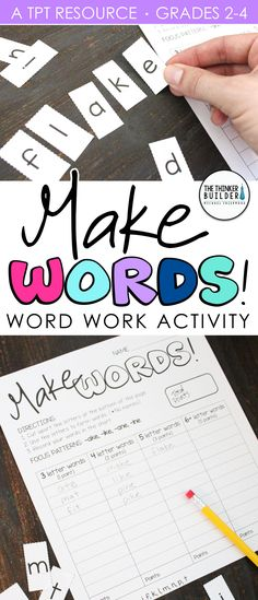 Make Words! Word Work - Word Study Activity An engaging, hands-on word work activity! Pre Writing, Teaching Writing, Writing Skills, Teaching Ideas, Writing Centers, Student Teaching, Teaching Tools, Teaching Resources, Word Study Activities