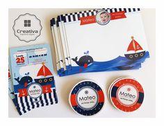 Kit Nautico • invitaciones • Mini pizarras • Stickers  #PartyKids #Nautico #Marinero