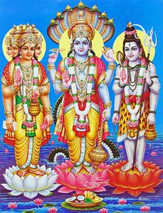 In the Hindu religion, there is an uncountable number of gods, some say there is one for almost every village in India. The three most recognized gods, the trinity, Vishnu Brahma and Shiva are all present in the story of creation. Vishnu was awoken and from his navel grew a lotus, and Brahma arose from the lotus and broke the lotus into three parts, heaven, earth, and the skies. Shiva often does not appear in the story, but in some versions he appears dancing when the world is in chaos.