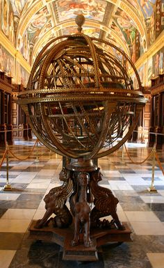 Old globe in the library at El Escorial, Spain