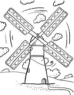 printable windmill coloring page free pdf download at httpcoloringcafecom