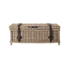 Navarro Rattan Outdoor Coffee Table Trunk ($330) ❤ liked on Polyvore featuring home, outdoors, patio furniture, outdoor tables, woven coffee table, rattan patio furniture, rattan trunk, gray outdoor furniture and rattan outdoor furniture