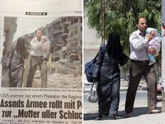 (From left) Screengrab of the altered photo on a page from Austria's Kronen Zeitung & the AA photo of a Syrian family attempting to escape Aleppo (© Kronen Zeitung; AA/EPA via Imgur, http://aka.ms/AleppoPhotoshop)
