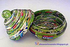 porta-jóias/bombons feito com folhas de revistas recicladas