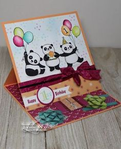 These Party Pandas are helping a special little one celebrate her first birthday. The Picture Perfect Party DSP is so much fun! I used several cut out gifts on the base of the easel card to hold the Baby Boy First Birthday, Birthday Cards For Boys, Handmade Birthday Cards, Happy Birthday Cards, Boy Cards, Kids Cards, Cute Cards, Tri Fold Cards, Folded Cards