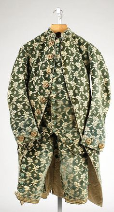 Suit: Frockcoat, waistcoat and breeches, French, silk, 1760-1780, Date: 1760–80 Culture: French Medium: silk