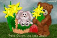 Frohe Ostern und liebe Grüße. Animierte Osterkarte mit Djabbi Teddy und Hase im Osterkorb